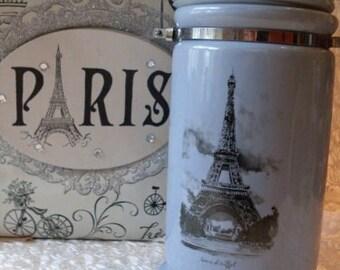French Rustic Farmhouse Stoneware Blue Eiffel Tower Crock  Rue23paris   We Ship Internationally