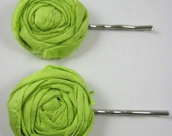 Hair pin SALE - hair pins - lime green hair pin - hair accessory - mini rosettes - wedding accessories