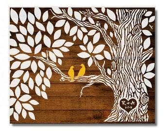 Wedding Guestbook -Wood Wedding tree Rustic Wedding Tree To Be Personalized With Guest's Signatures - 17x22 - 70 Signature Guestbook