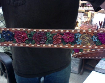 """Belt / Leather / Women / Roses / Hand Carved and Tooled  / Custom / Roses and Flowers / 1 - 3/4 """"  Wide  / Woman / Leather Belt / Handmade"""