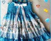 Blue floral printed dresses for girls, Blue Frilly dress, Sizes 6m. to 24 months,Toddler blue summer  dress - girls aqua blue sundress