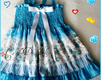 Blue dress for baby girls, Baby flowered dress, Blue frilly dress, Toddler blue dress, girls summer dress, Baby beach dress Sizes: 6m.to 3T.