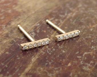 Diamond Earrings Gold Diamond Stud Earrings Womens Gift for Her April Birthstone Diamond Bar Studs Line Studs Diamond Earrings 14K Gold Stud