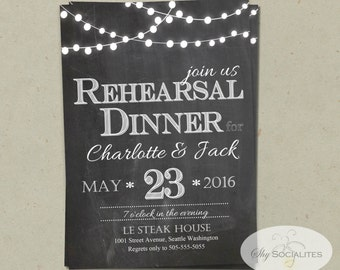 Chalkboard & Lights Rehearsal Dinner Invitation | Christmas Lights, White Lights, Patio Lights, String Lights | PDF Instant Download