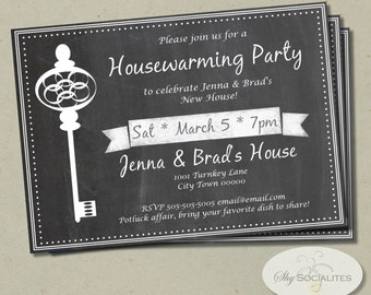 Skeleton Key Housewarming Invitation | Chalkboard, Black and White, New House, New Address, We've Moved, Key | Instant Download