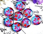 NEW 12mm 20mm 25mm 30mm( 25mm Flat )Handmade Photo Glass Cabochon -Image Glass Cabochon-(Flower)-(HPGC-3-3)
