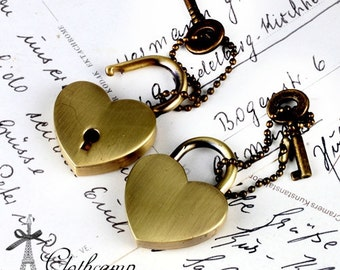 1Set Bronze Heart  Shape Lock / Padlock and Working Key Charms / Pendants High Quality (LOCK-77)