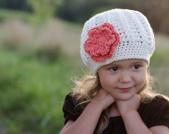 Toddler Girl Hat, Hats for Toddlers, Little Girl Hat, Cream Girl Hat, Crochet Girls Hat, Girls Beanie Hat with Flower, Little Girl Clothes