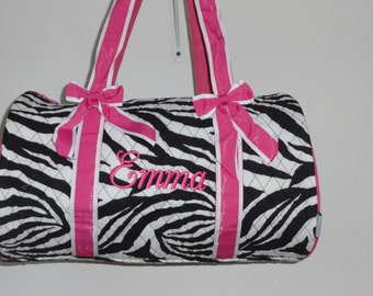 "Personalized 17"" Zebra Duffle Bag with Hot Pink Trim Dance Bag Gym Bag"