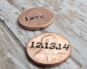 Set of 2 Lucky Penny For Her Shoe Wedding Day Pennies Charm for Bride Groom No Hole Any Year 1950 to 2016 Wedding Shower GIFT Bridal Shower