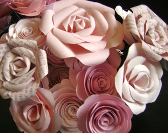 one dozen mixed styles pink roses bouquet for wedding or valentines day alternative spiral paper roses