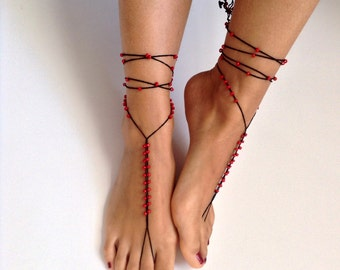 Barefoot Sandals bead, red, black wedding, Bikini, Women, Beach, Bridal Shoes, Bridal Sandals, Bridal Jewelry, shoes, READY TO SHIP