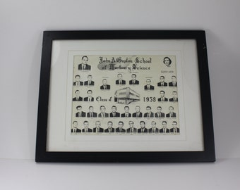 Vintage Mortuary Science Mortician Embalmer Class Photo Wood Framed Funeral Home Embalming Oddity Halloween Decor Copy