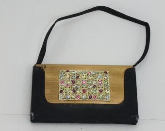 Vintage Volupte' Compact Purse Makeup Cigarette Case Coin Metal Clutch Evening Bag Rhinestones