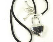Locking necklace leather bdsm day collar discreet mature heart lock necklace
