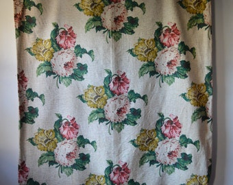 """1940s 1950s Bark Cloth Curtain Panels 16"""" Floral Spray Textured Bark Cloth Off White Pink Green and Yellow Flowers  Lined"""
