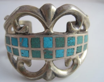 Vintage Zuni Bracelet - Sand Cast Cuff with Inlay Turquoise - Tribal Jewelry