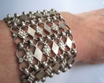 Turkish Jewelry, Wide Silver Link Bracelet