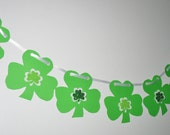 Shamrock Garland, dark and light green on ribbon