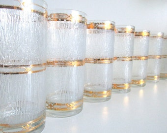 Vintage Gold & White Textured Glassware