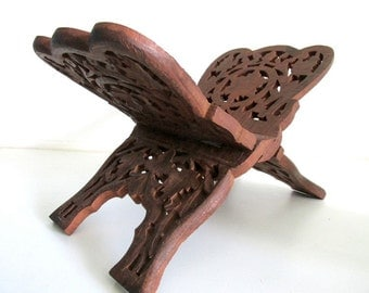 Vintage Wood Carved Cookbook Holder/Magazine Rack
