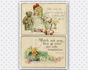 Vintage Cards Bible Verses Chirstian Spiritual Girl with Bear Lamb Printable Graphic Card Clipart Digital Instant Download