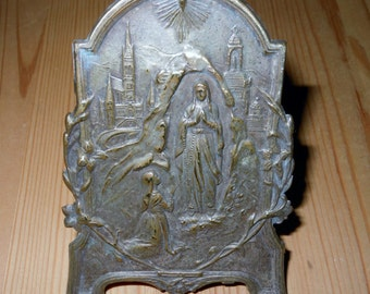 FRENCH Brass Easle Icon from Lourdes c 1920