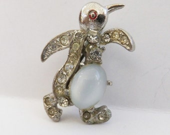 Vintage jewelry penguin brooch in silver rhinestones with blue jelly belly brooch Sale half price
