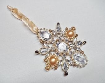 CLEARANCE Vintage Rhinestone and Pearl Bead Ornamental Destash Necklace Brooch