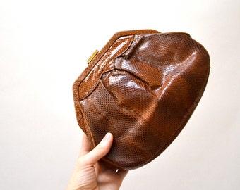 Brown Vintage Leather Clutch// Brown Snakeskin Clutch