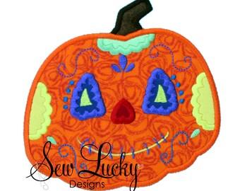 Sugar Skull Pumpkin Applique Design - machine embroidery design- Many formats - INSTANT DOWNLOAD