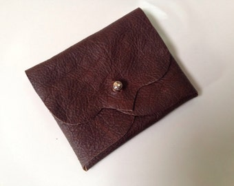 Leather Business/Debit Card Wallet or Just a Cute Pouch. Conker Brown. Antique brass Coloured Rivet Closure. Eco Friendly.