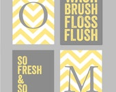 Yellow and Gray Bathroom Art Home Decor Prints You Are My Sunshine Chandelier Chevron Monogram Prints - Set of four 5x7s You Choose Colors