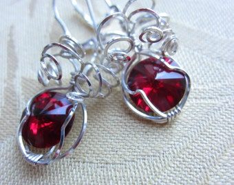 Spiraled Sterling Silver and  red crystal Earrings