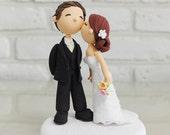 Custom Wedding Cake Topper -Kiss him on the cheek-