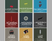 SAVE 15% - Consulting Detective Inspired 9-Print Series // Minimalist Sherlock Prints with Television Quote and Stylized Illustrations