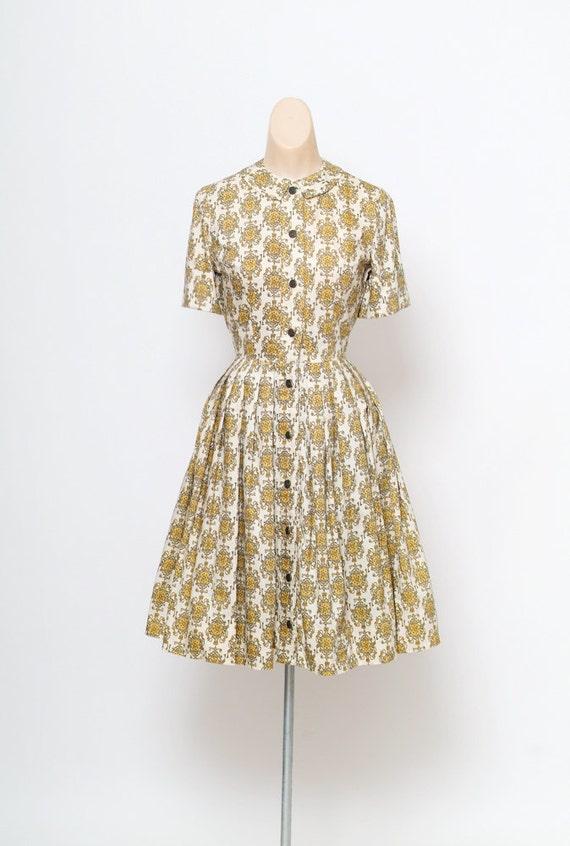 Vintage 50s dress mid century modern novelty print vintage 50s