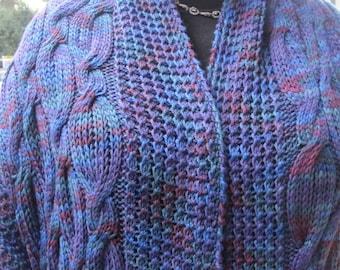 Knit Shawl Pattern:  Warm Tahoe Pocket Shawl