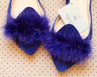 Pointy Navy Blue Handmade Leather Loafers Slip on Shoes with Little Feathers
