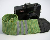 Green and Yellow Striped Woven Cotton DSLR Camera Strap, #416R