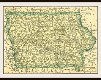 DIGITAL Download - 1920's IOWA Map - US Map for Papercrafts, Transfers, Pillows, Scrapbooks, and more.
