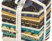 Beau Monde Peacock palette - FQ bundle, 16 pieces (including 2/3 yd peacock panel) - Robert Kaufman