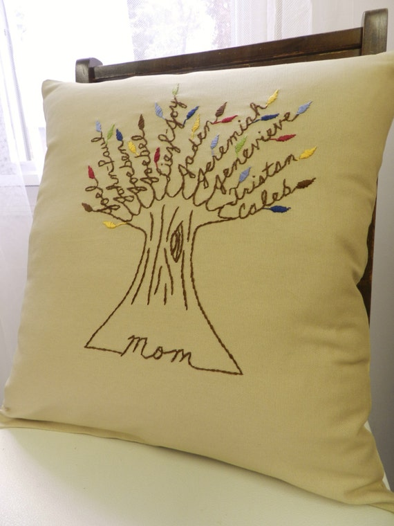 Mother Pillow Cover. Mother of the Groom. Gift for Mom. Personalized Embroidery. Personalized Family Tree. Grandchildren. Birthday For Mom.
