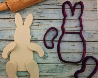 Arty McGoo's Hinged Easter Bunny Cookie Cutter and Fondant Cutter and Clay Cutter