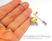 Changeable Post Earrings - silver long dangle