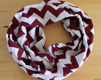 Jersey Knit Infinity Scarf -  Maroon and White Chevron