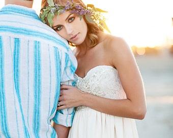 Bohemian Wedding Dress Beaded Sequin Long Strapless Wedding Gown- Verona