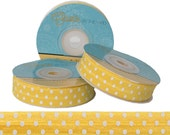 Yellow with White Polka Dots - Fold Over Elastic - 5 YARDS