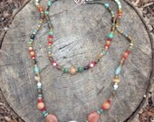 Colorful beaded double strand necklace