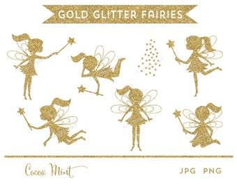 Gold Glitter Fairies Clip Art